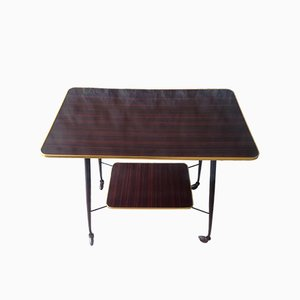 Mid-Century Formica, Brass, & Metal Side Table on Wheels, 1960s