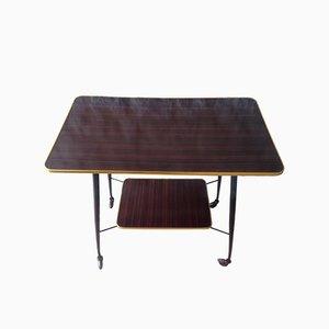 Tavolino Mid-Century in metallo e ottone su ruote, anni '60