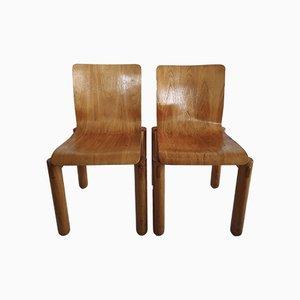 Sedie moderniste in compensato e legno massiccio, anni '70, set di 2