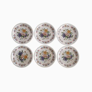 Vintage Plates with Floral Pattern from Moulin Des Loups, Set of 6