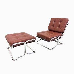 Vintage Sessel & Fußhocker, 1970er