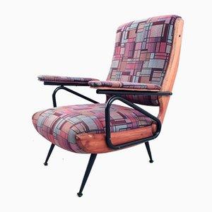 Vintage Italian Reclinabile Armchair, 1950s