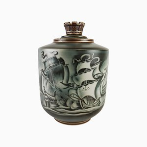 Art Deco Swedish Flambé Lidded Urn by Gunnar Nylund for Rörstrand, 1940s