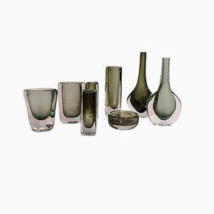 Jarrones vintage de vidrio Sommerso & Dusk de Nils Landberg para Orrefors. Juego de 8