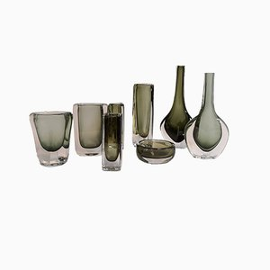 Vintage Sommerso & Dusk Vasen von Nils Landberg für Orrefors, 8er Set