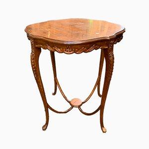 Table Art Nouveau Antique en Bois Sculpté