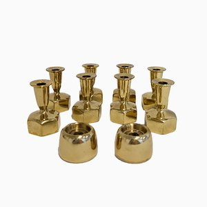Swedish Brass Candleholders by Hans-Agne Jakobsson, 1960s, Set of 10