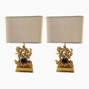 Lámparas de mesa francesas de bronce y amatista de Claude Victor Boeltz, años 70. Juego de 2