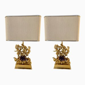 Lampes de Bureau en Bronze et Améthyste par Claude Victor Boeltz, France, 1970s, Set de 2