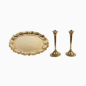 Set with Swedish Brass Candleholders and Tray by Lars Holmström, 1950s
