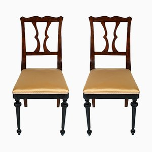 Art Nouveau French Mahogany Side Chairs, Set of 2