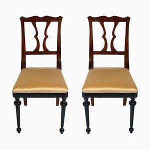 Französische Beistellstühle aus Mahagoni im Jugendstil, 2er Set
