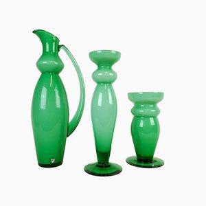 Jarrones de vidrio verde de Orrefors, años 90. Juego de 3