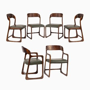 Model Sleigh Dining Chairs with Leather Seats by Joamin Baumann, 1960s, Set of 6