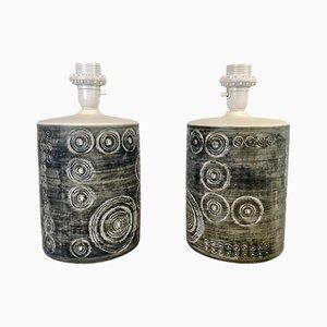 Lámparas de mesa suecas de porcelana de Olle Alberius para Rörstrand, años 70. Juego de 2