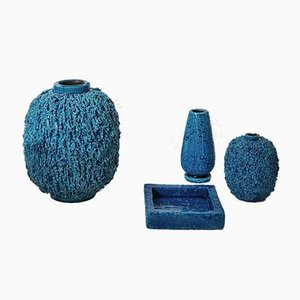 Blue Chamotte Stoneware Tableware Set by Gunnar Nylund for Rörstrand, 1930s