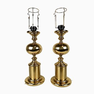 Schwedische Mid-Century Tischlampen aus Messing von Enco, 1960er, 2er Set