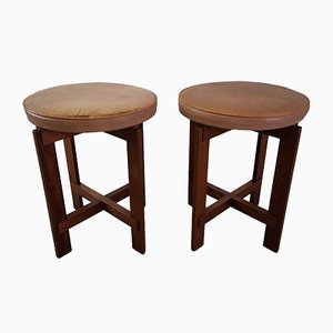 Vintage Teak & Leather Stools by Uno & Östen Kristiansson for Luxus, 1950s, Set of 2