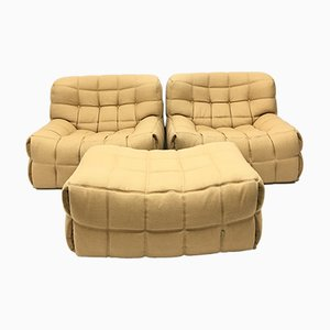Vintage Kashima Chairs & Ottoman Set by Michel Ducaroy for Ligne Roset, 1980s