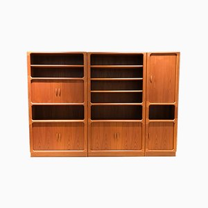 Large Mid-Century Danish Teak Wall Unit by Niels Bach for Dyrlund, 1970s