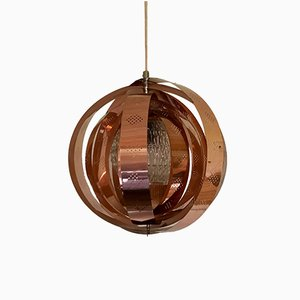 Danish Copper Moon Pendant Lamp by Werner Schou for Coronell, 1960s