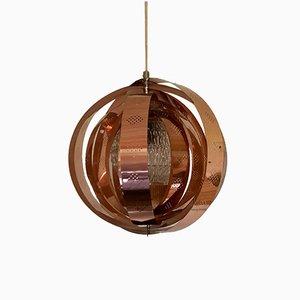 Lámpara colgante Moon danesa de cobre de Werner Schou para Coronell, años 60