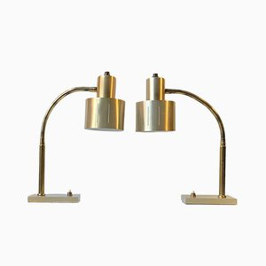 Danish Brass Table Lamps by Vitrika, 1960s, Set of 2