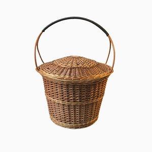 Vintage Scandinavian Cane Rattan Basket, 1970s