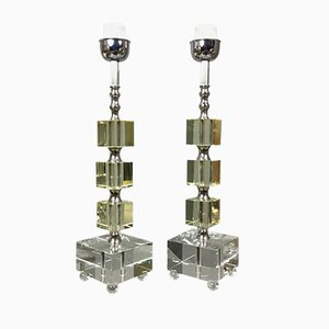 Swedish Glass Cube Table Lamps, 1970s, Set of 2