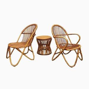 Juego de mesa auxiliar y dos sillones holandés vintage de ratán de Rohé Noordwolde
