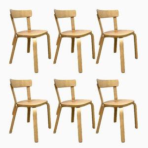 Chaises de Salle à Manger Modèle 69 Vintage par Alvar Aalto pour Artek, Finlande, Set de 6