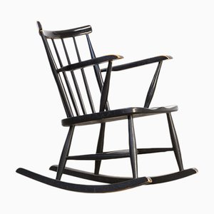 Black Lacquered Wooden Rocking Chair, 1970s