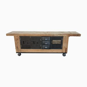 Large Solid Elm Worktable with Metal Doors and Drawers, 1960s