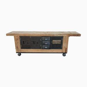 Tavolo da lavoro grande in legno massiccio di olmo e metallo, anni '60