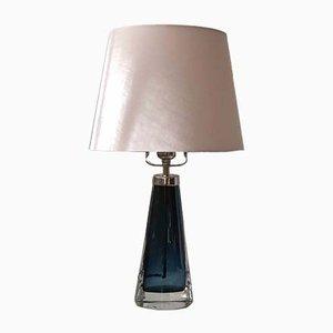 Blaue Orrefors RD-1566 Tischlampe von Carl Fagerlund