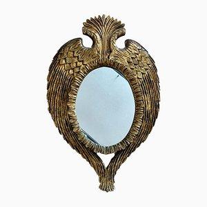 Antiker französischer Spiegel mit Rahmen aus geschnitztem & vergoldetem Holz