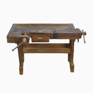 Mesa de trabajo de carpintería vintage de roble, años 30