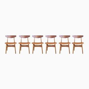 CH30 Esszimmerstühle von Hans Wegner für Carl Hansen & Son, 1952, 6er Set