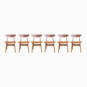 Chaises de Salle à Manger CH30 par Hans Wegner pour Carl Hansen & Son, 1952, Set de 6