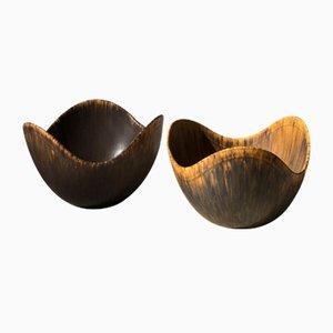 Scodelle in ceramica e frassino di Gunnar Nylund per Rörstrand, anni '50, set di 2