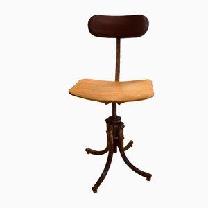 Chaise de Bureau Mid-Century en Cuir & Bois