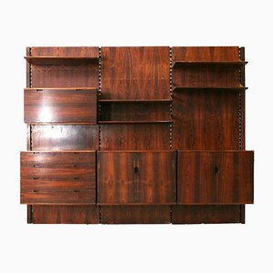 Large Vintage Rosewood Wall Unit by Raffaella Crespi for Mobilia, 1962