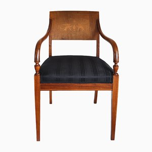 Antique Danish Mahogany & Birch Inlay Armchair, 1840s
