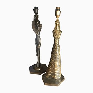 Lampade scultoree in bronzo di Giuliano Ottaviani, anni '90, set di 2