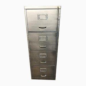 Schedario a quattro cassetti vintage in metallo sverniciato