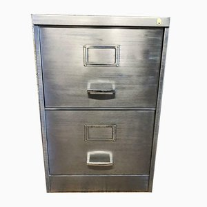 Vintage Stripped Metal 2 Drawer Filing Cabinet