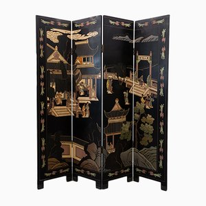 Mid-Century Chinese Black-Lacquer Screen