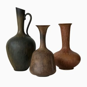Brown Stoneware Vessels Set by Gunnar Nylund for Rörstrand, 1950s