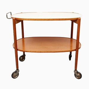 Mid-Century Cherry and Formica Tea Cart