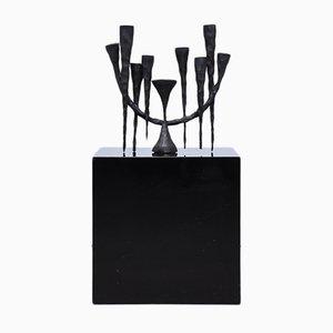Brutalist Cast Iron 9-Armed Candleholder, 1960s